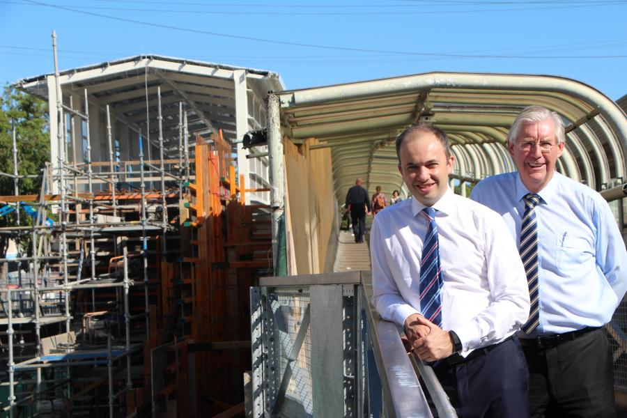 Photo of Matt Kean (State member for Hornsby) and Steve Rusell (Hornsby Mayor) standing on Hornsbys' new commuter footbridge