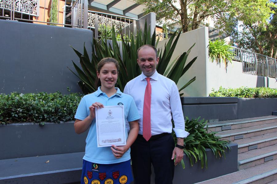 Matt Kean MP with Wideview Public School Captain and swimmer Hayley Johnston