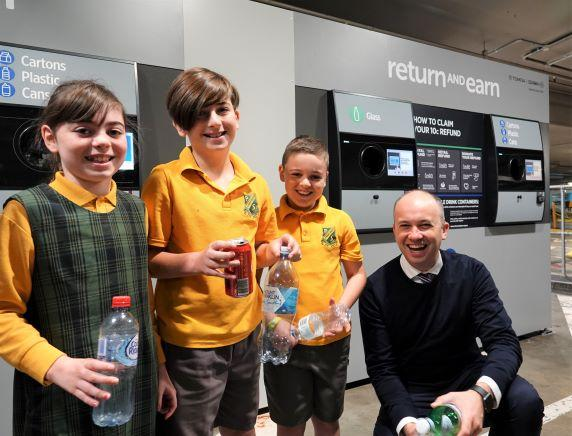 Matt Kean MP with the Gers Family at the opening of the Return and Earn in Hornsby