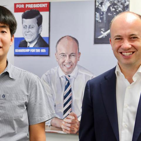 Matt Kean MP with artist Daniel Kim