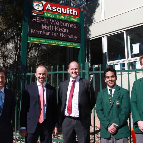 Asquith Boys High School gets a new electronic sign