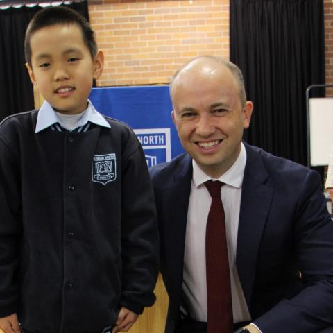 Matt Kean MP with Young Archie winner Matthew Chen