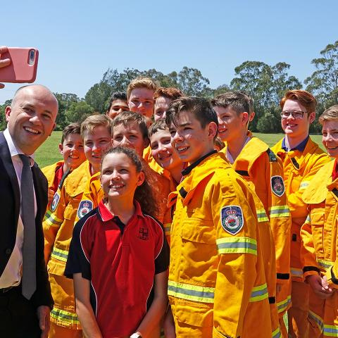 Matt Kean with the graduates of Northholm RFS training
