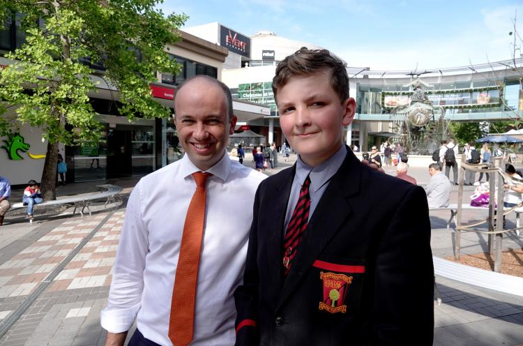 Matt Kean MP and Adam Fowler from Normanhurst Boys High School