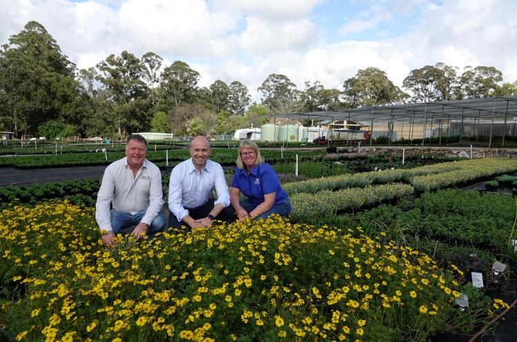 Matt Kean at Cameron's Nursery with Sonja and Andy