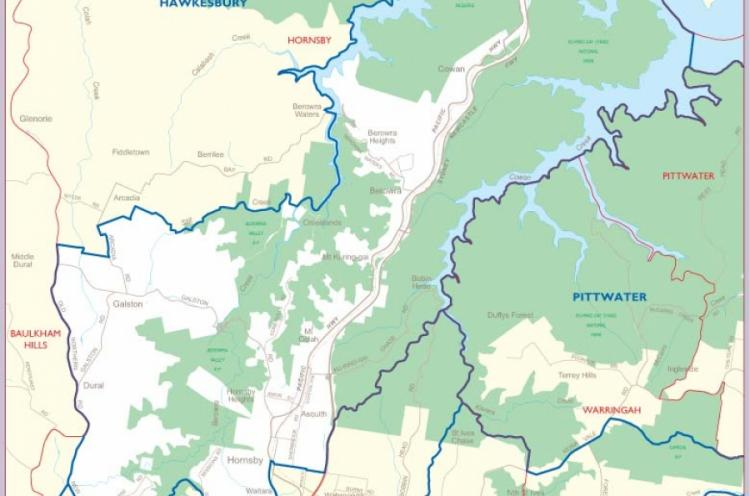 Graphic of map of Hornsby Electorate
