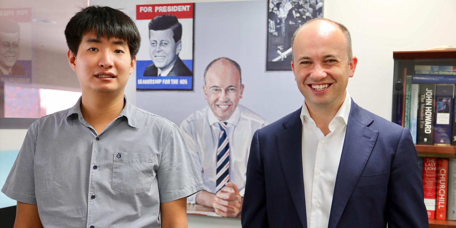 Matt Kean MP with artist Daniel Kim