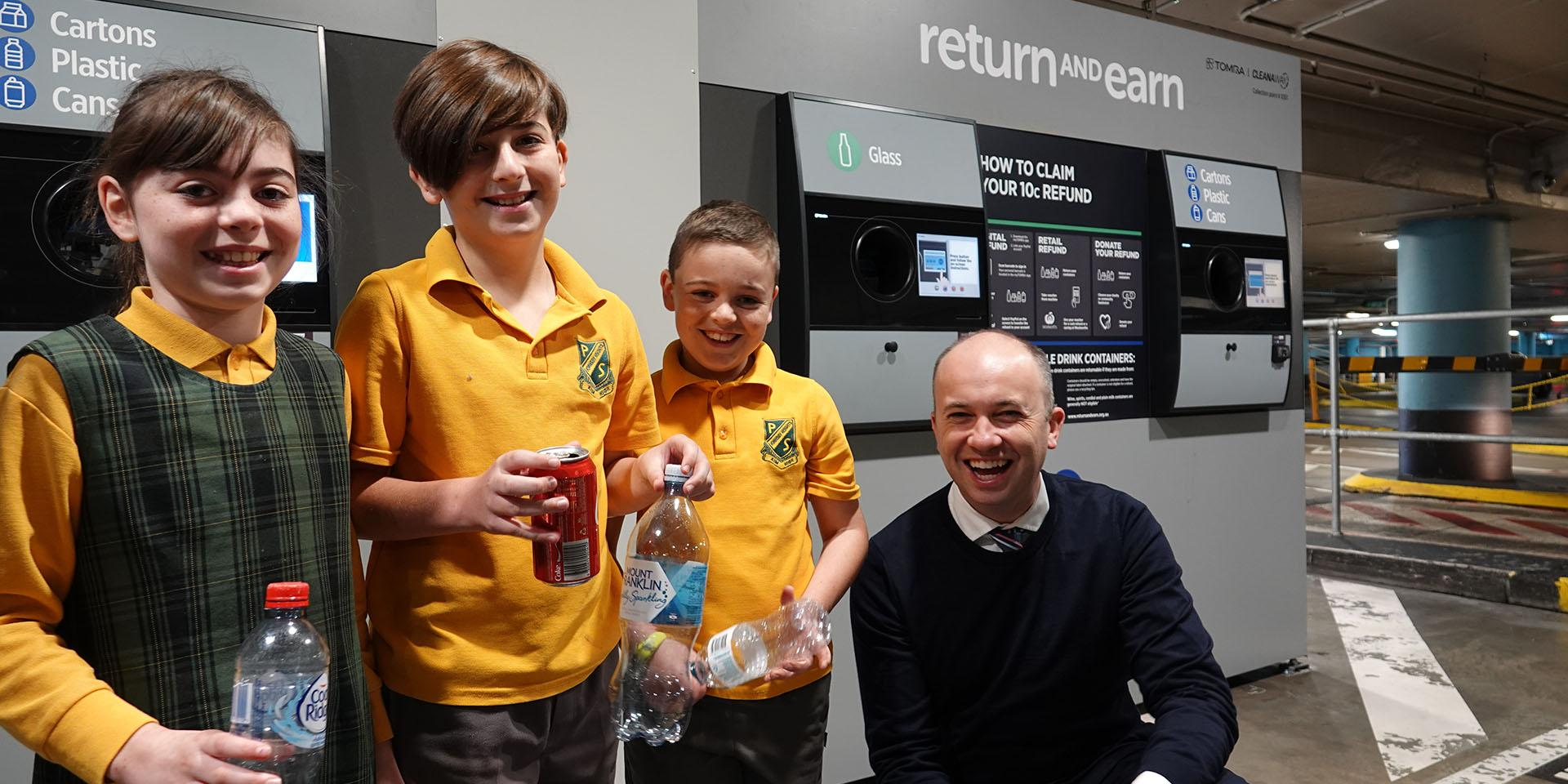 Matt Kean MP with the Gers Family at the opening of Return and Earn