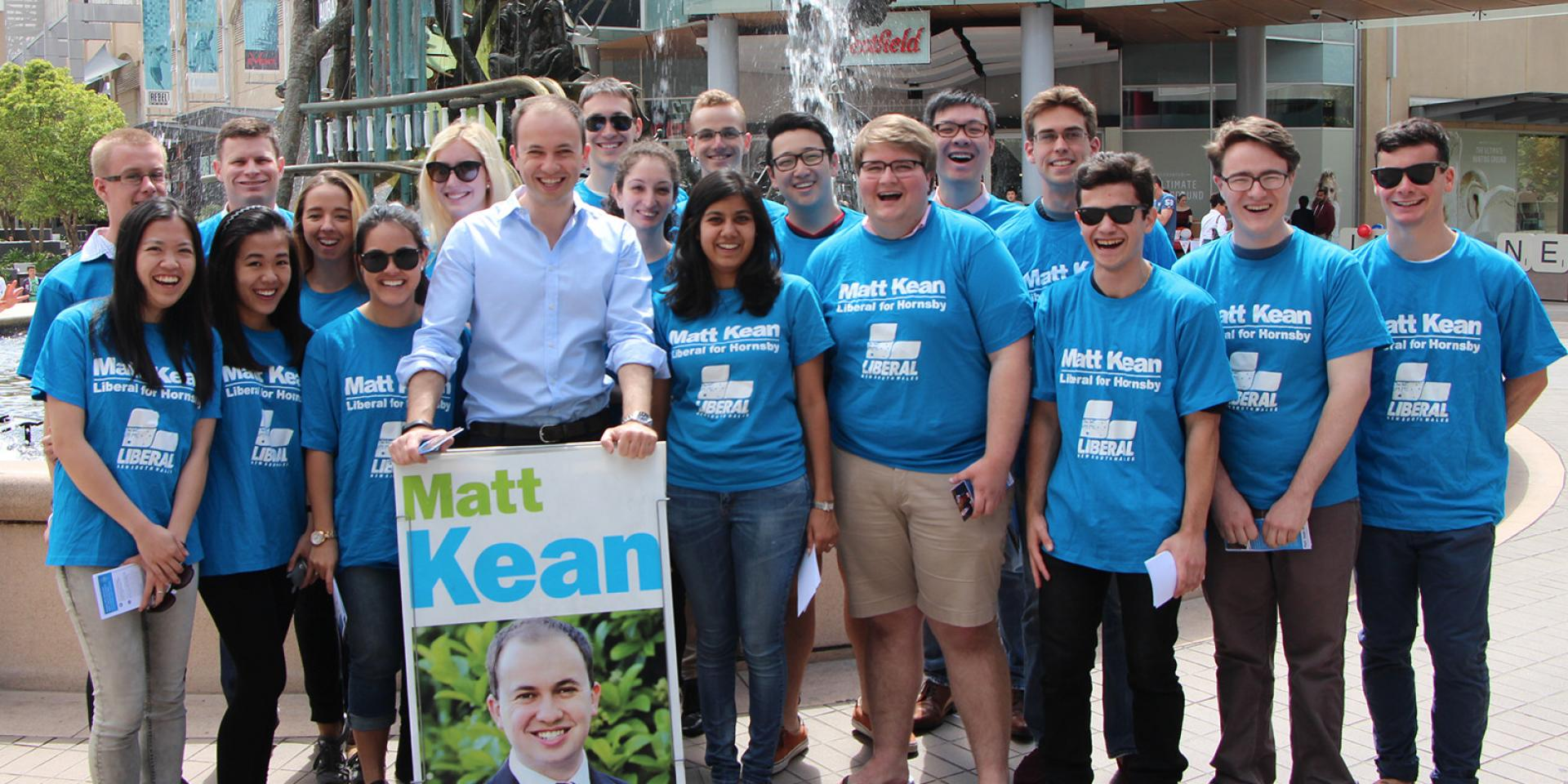 Photo of Matt and volunteers campaigning