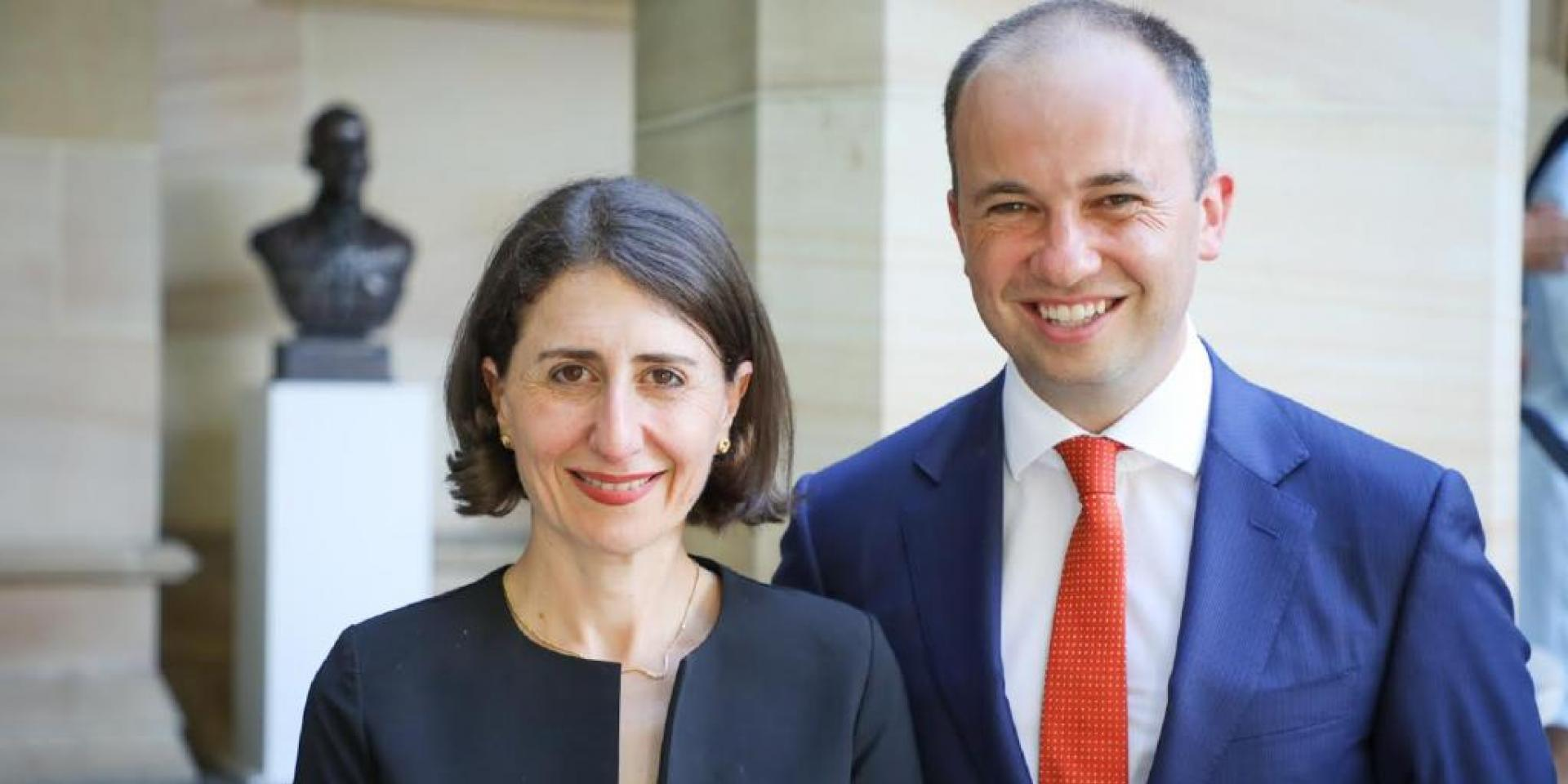Minister for Innovation and Better Regulation Matt Kean with Premier Gladys Berejiklian