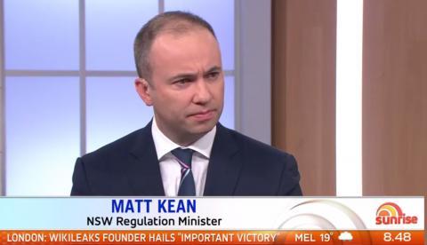 Minister for Innovation and Better Regulation Matt Kean appears on Sunrise