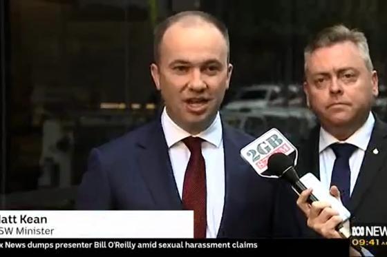 Minister Matt Kean speaks with the ABC