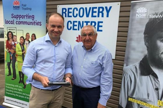 Minister for Innovation and Better Regulation Matt Kean and Lismore MP Thomas George launched Rebuild Assist in the Northern Rivers in April 2017