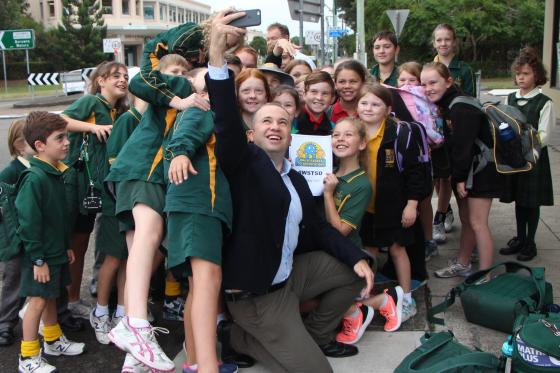 Matt Kean MP Member for Hornsby takes a selfie with Berowra school children on Walk Safely to School Day