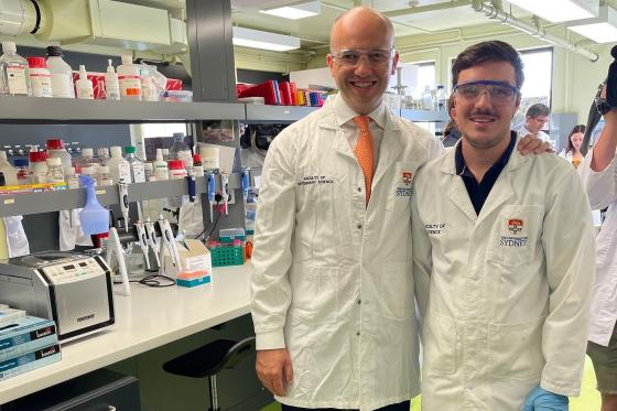 Member for Hornsby Matt Kean with local PHD student Luke Silver
