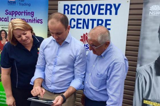 Minister for Innovation and Better Regulation Matt Kean checks out Rebuild Assist
