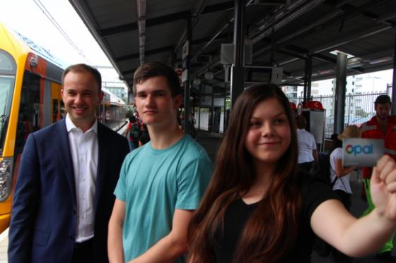 Photo of Matt with students at Hornsby station