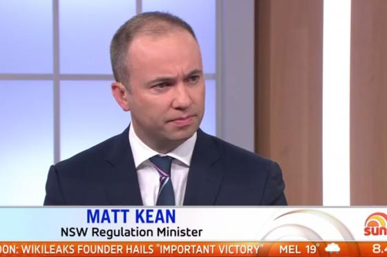 Minister for Innovation and Better Regulation Matt Kean appears on Sunrise